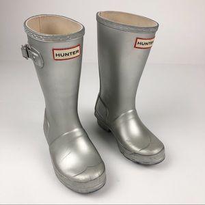 Hunter Gray Silver Tall Kids Rain Boots Toddler 13